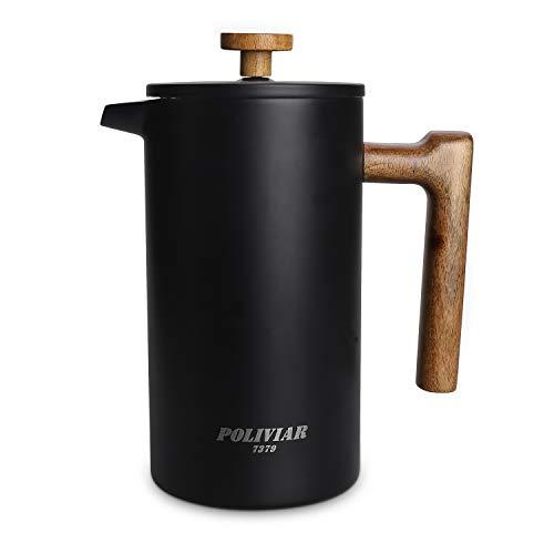 Poliviar French Press Kaffeebereiter 1 Liter/8 Tassen, Doppelwandige Isolierte Kaffeekanne...