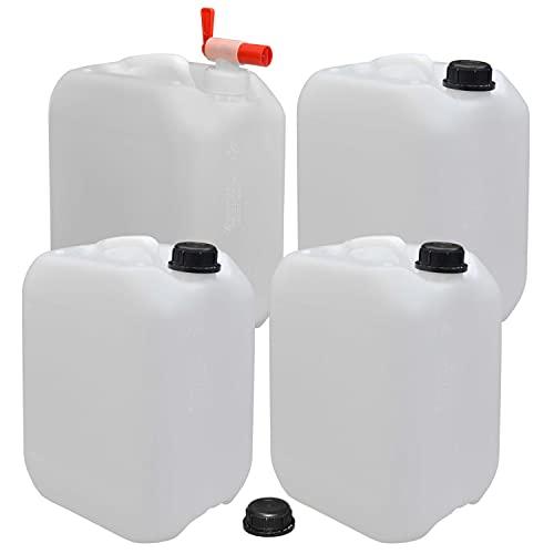 plasteo 4er Set: 10 Liter Getränke- Leer- Wasserkanister mit 1 Auslaufhahn und 4...