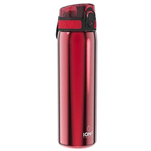 Ion8 Auslaufsichere Schlanke Trinkflasche, Edelstahl, 600ml (20oz), Rot