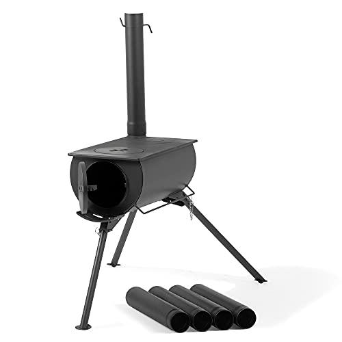 CampFeuer Zeltofen | 58 x 86 x 240 cm | schwarz | Tragbarer Holzofen für Camping,...
