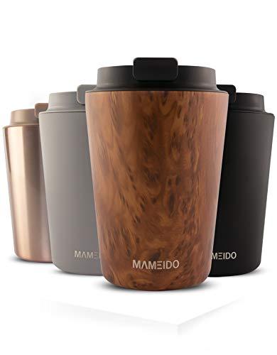MAMEIDO Thermobecher 350ml Oak Wood - Kaffeebecher aus Edelstahl doppelwandig isoliert,...