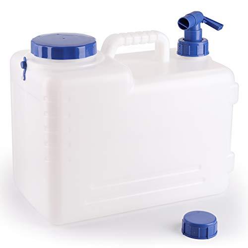 Bekith Wasserkanister mit festmontiertem Ablasshahn Tragbar Wasserauslauf, 15L