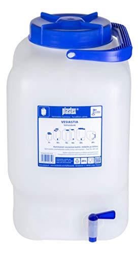 Plastex Wasserbehälter 20L lebensmittelecht BPA frei Weithals Kanister mit Zapfhahn,...