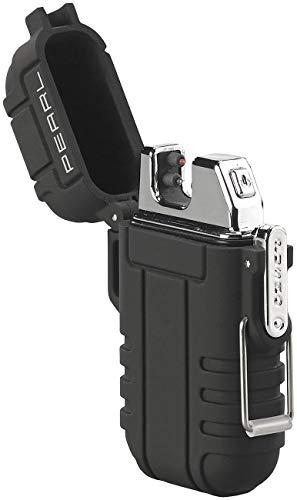 PEARL USB Feuerzeug: Elektronisches Feuerzeug mit doppeltem Lichtbogen, Akku, IP56,...