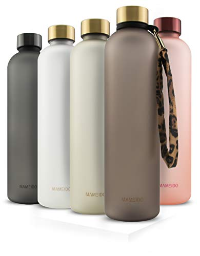 MAMEIDO Trinkflasche 1l urban Taupe Gold - auslaufsicher, Kohlensäure geeignet, BPA frei...