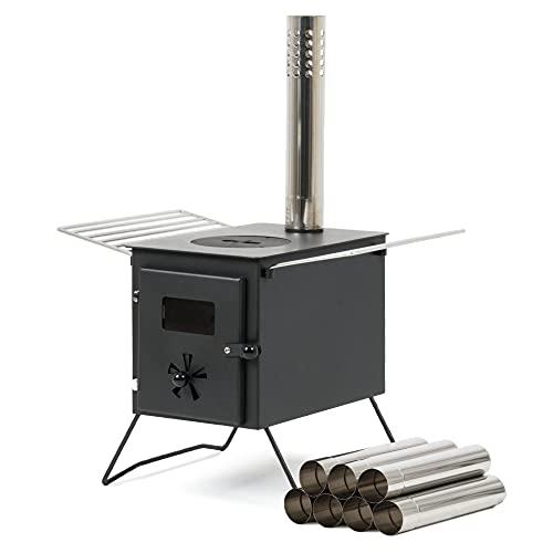 CampFeuer Zeltofen | 54 x 40 x 294,5 cm | schwarz | Tragbarer Holzofen für Camping,...