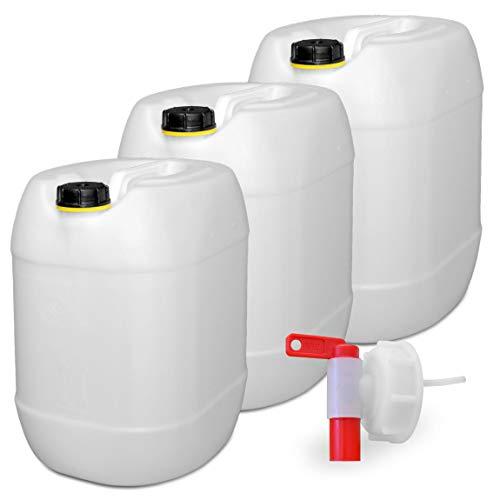 plasteo 3er Set: 30 Liter Getränke u.Trinkwasserkanister Wassertank Behälter Natur mit 1...
