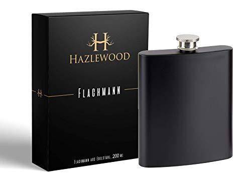 Hazlewood Britischer Flachmann aus Edelstahl, matt schwarz, 200 ml (Schwarze Verpackung)