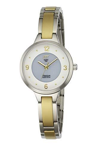 ETT Eco Tech Time Solar Damen Uhr Analog mit Titan Armband ELT-12046-11M