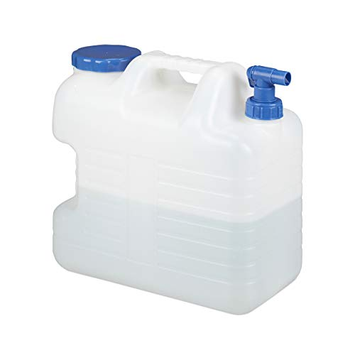 Relaxdays 20 L Wasserkanister, Ablasshahn, Schraubdeckel, tragbarer Trinkwasserkanister,...