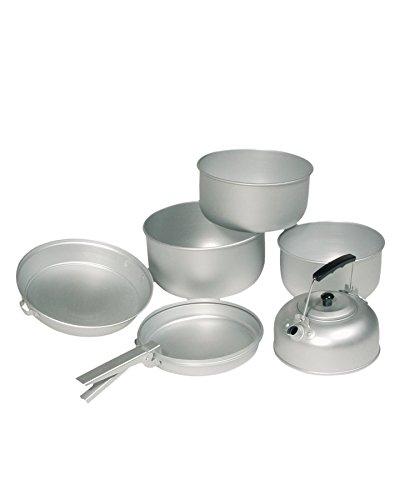 Mil-Tec Koch-Set Alu 3 Töpfe Pfanne Teekessel, Silber, 20.5 x 10.5 cm/19 x 8.5 cm/17 x...