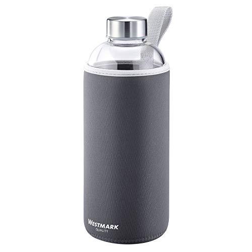 Westmark Trinkflasche, aus Glas mit Aufdruck, inkl. Schutzhülle, 1000 ml,...