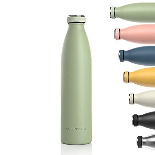 LARS NYSØM Trinkflasche Edelstahl 1000ml | BPA-freie Isolierflasche 1 Liter |...