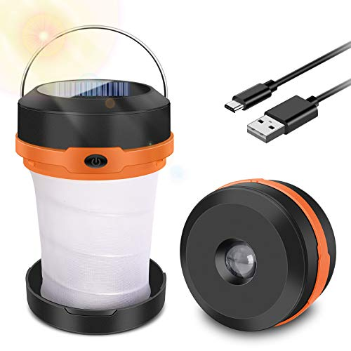 SYOSIN Campinglampe LED Faltbare Laterne, Wiederaufladbar über Solar und USB, Dimmbare 3 Mode Licht Faltbare...
