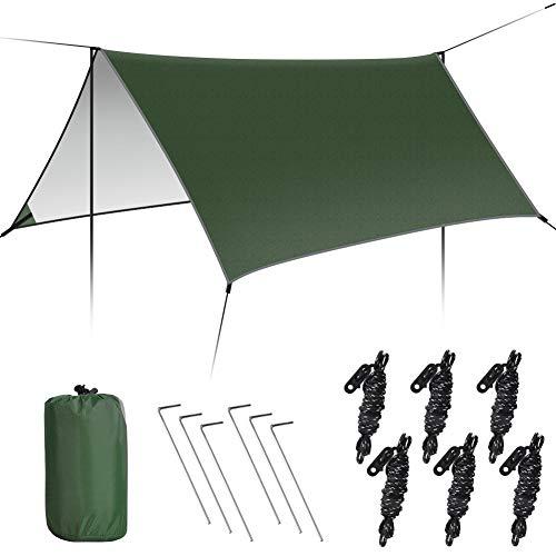 GEEDIAR Zeltplane Wasserdicht, 3x3m-PU3000mm Regen Fliegen Sonnenschutz für Zelt,...