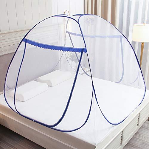 Pop Up Moskitonetz für Doppelbett, Large Portable Zelt Travel Doppeltür Reißverschluss Bettnetz, einfache...