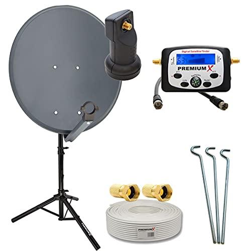 PremiumX Camping Satelliten-Komplettanlage 60cm Antenne Single LNB Sat-Finder 10m Kabel...