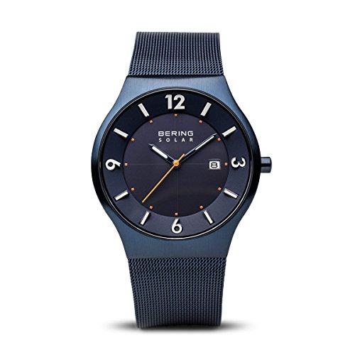 BERING Herren Analog Solar Collection Armbanduhr mit Edelstahl Armband und Saphirglas...