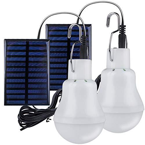 2 Stück Solar Glühbirne,TechKen Solarlampe LED Licht Tragbare Birne Solarlampen Lämpchen 3 W,3 m Ladekabel...