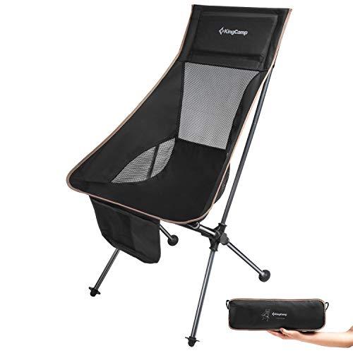 KingCamp Ultraleicht Campingstuhl mit hoher Rückenlehne und Seitentasche kleines Packmaß bis 120kg 150kg...