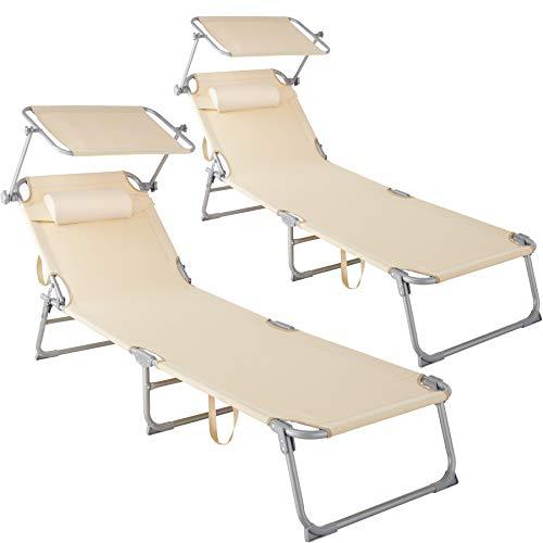 TecTake 800773-2er Set Sonnenliege mit Dach, klappbare Strandliege, Gartenliege mit Kissen, Sonnendach...