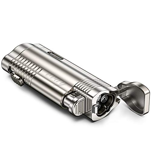 VVAY Sturmfeuerzeug Jetflamme Gas Nachfüllbar, 3 Flammen Jet Feuerzeug (Verkauft ohne...