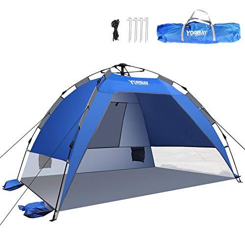 Yorbay Automatik-Strandzelt mit UV-Schutz 50+,Strandmuschel mit Heringen, Sandtasche und...