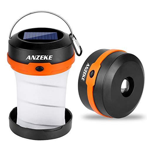 ANZEKE Solar-betriebene LED-Campingleuchte, Zusammenklappbares Design Solar oder USB,...