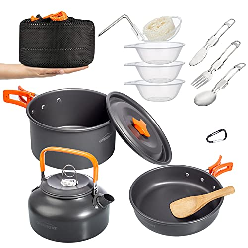 Overmont Camping Kochgeschirr Set Outdoor Geschirr Set Kochtopf Set Grillgeschirr Picknick...