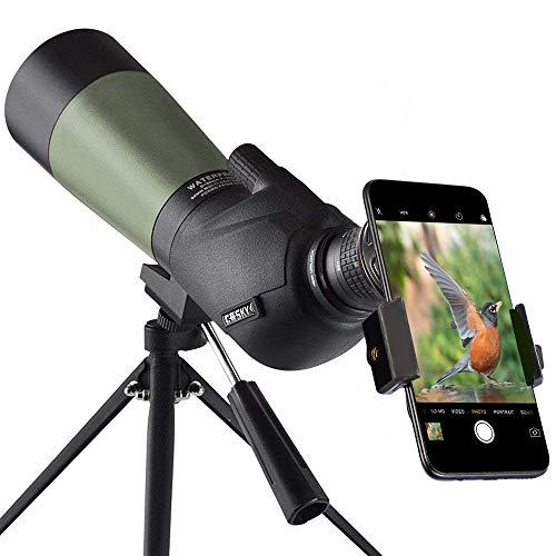 Gosky 20-60x60mm Spektiv, wasserdicht, stoßfest, mit Stativ und Digiscoping-Adapter,...