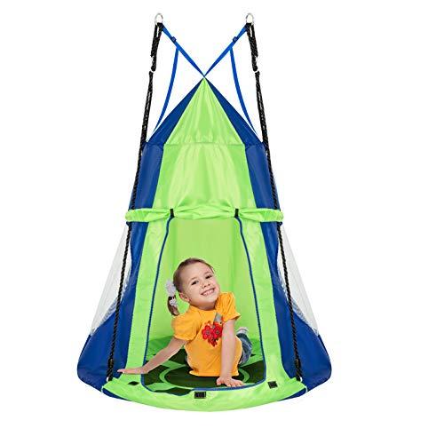 DREAMADE Nestschaukel mit Zelt, Hängezelt Höhenverstellbar Gartenschaukel, Schaukelnest...