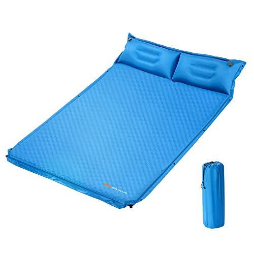 COSTWAY Campingmatte mit Kissen, Isomatte Selbstaufblasend, Camping Matratze Schlafmatte 2...
