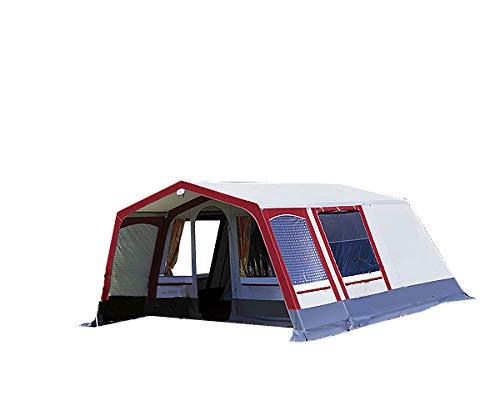 dwt Villa Steilwandzelt grau/rot Camping Outdoor 4-6 Personen in 2 verschieden Größen,...