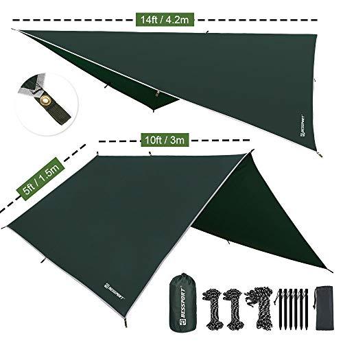 Bessport Zeltplane Sonnensegel Camping, Tarp für Hängematte PU 3000mm Wasserdicht mit...