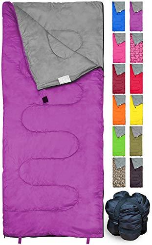 REVALCAMP Violett Schlafsack für Drinnen und Draußen. Toll für Kinder, Jungen, Mädchen, Jugendliche,...