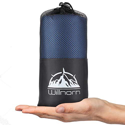 WILLNORN 2in1 Hüttenschlafsack aus Mikrofaser, mit durchgängigem Reißverschluss:...