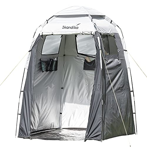 Skandika Camping Duschzelt | großes Umkleidezelt mit 230 cm Stehhöhe, silberbeschichtet,...