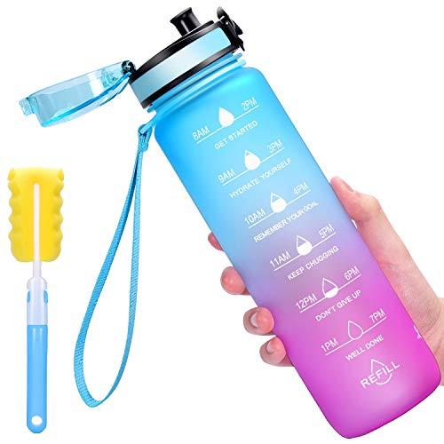 Favofit 1 Liter Trinkflasche mit Motivationszeitmarkierung, BPA-frei Tritan Wasserflasche...