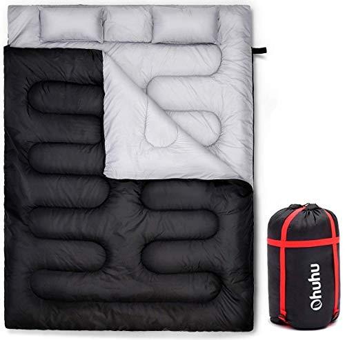 Ohuhu Groß Doppelte Schlafsack 218 x 150cm Erwachsene Deckenschlafsack mit 2 Gratis Kissen und eine...