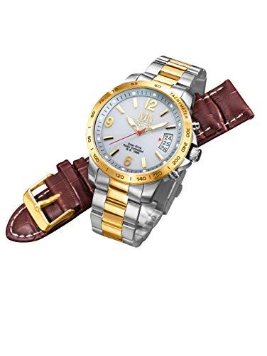 Meister Anker Herren Funk-Solaruhr mit Edelstahl-Armband – Armbanduhr inkl....