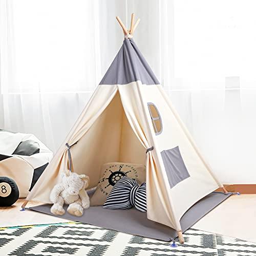Kinderzelt Spielzelt Tipi Zelt Teepee für Kinder aus 100% Baumwolle + graue Matte