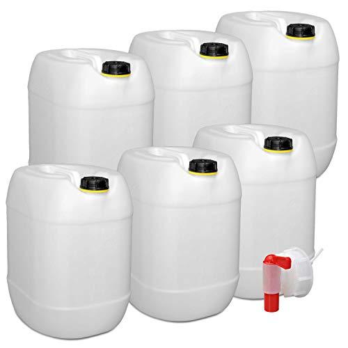 plasteo 6er Set: 30 Liter Getränke- Wasserkanister Natur mit Schraubdeckeln und 1...