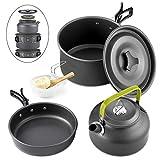 Qtiwe 10-Teilig Cookware Kit Picknick Töpfen Kochgeschirr Campinggeschirr Set für 2-3...