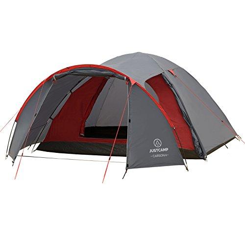 JUSTCAMP Campingzelt Carson 4, Kuppelzelt, 4 Personen - grau, Iglu Zelt, 2 Eingänge,...