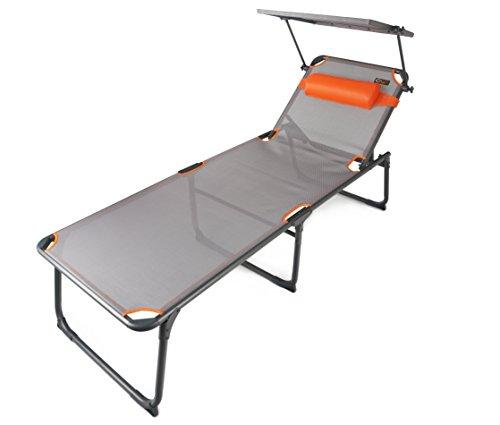 Portal Outdoor leichte klappbare Campingliege mit gepolsterter Kopfstütze und...