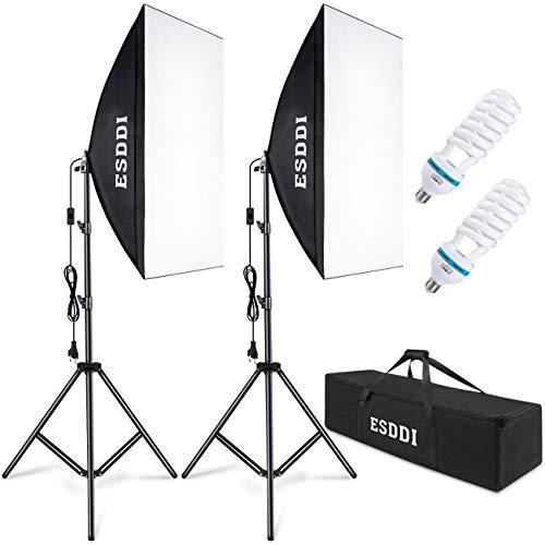 ESDDI Softbox Beleuchtungs Set 2X 50x 70 cm Studioleuchten Fotostudio-Leuchten Studio...