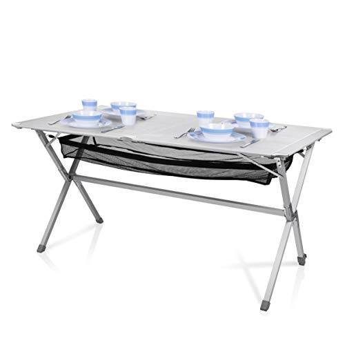 Campart Campingtisch/ Reisetisch - 140 x 80 cm wetterbeständige Rolltischfläche aus...