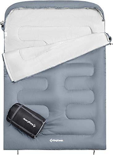 KingCamp Oasis Doppelschlafsack Deckenschlafsäcke mit Kopfteil für 2 Personen 3 Jahreszeiten, Grau, 235 ×...