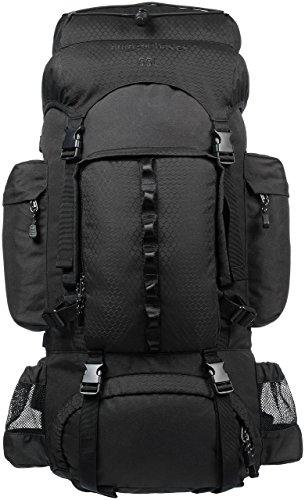 Amazon Basics - Wanderrucksack mit Innengestell und Regenschutz, 55 L, Schwarz
