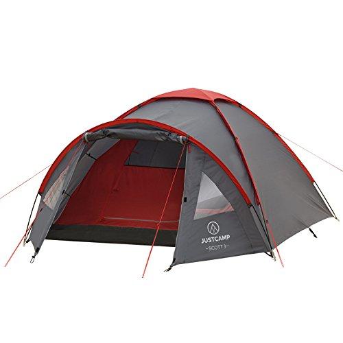 JUSTCAMP Kuppelzelt Scott 3, Campingzelt mit Vorraum, Iglu-Zelt für 3 Personen...